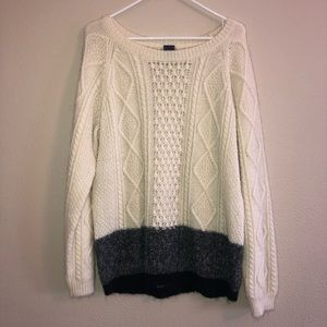 Gap sweater, cream/grey/black size XL